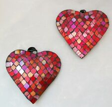"""Heart Ornament Mosaic Red 5"""" Set 2 Large Valentine's Day Love Decor"""