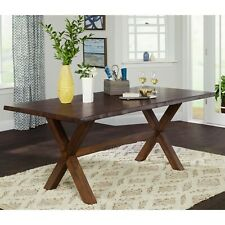 Rustic Solid Wood Live Edge Criss-Cross Legs Dining Table - WALNUT FINISH