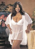 Itimate Atitudes by Shirley of Hollywood White Baby Doll & G-String Plus Size 2X