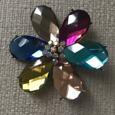 striking Flower crystal Brooch made with faceted Swarovski Crystal large