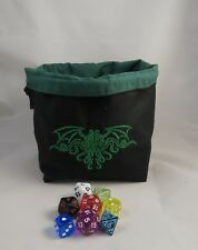 Cthulhu Black and Green Square Dice Bag Reversible Drawstring Tile Pouch RPG D&D