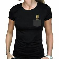 Women's Marvel Groot in my Pocket Black Fitted T-Shirt