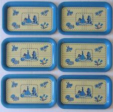RARE VINTAGE 1950s Set of 6 BLUE LADY BELLE FLORAL METAL FOOD TV TRAY RECTANGLE