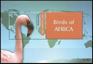 Gambia 2011 MNH MS, Water Birds, Lesser Flamingo, Map, Continents