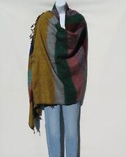 Yak Wool Blend|Shaw/Throw|Handloomed|Nepal|Handmade|Multi-Colored Panels