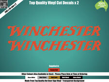 WINCHESTER DECALS x 2 - RIFLE, SHOT GUN, HUNTING - RED or COLOURS