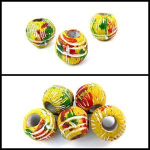 Rasta Round Ceramic Dread Bead, Dreadlock Bead, 8mm Hole, Painted, Yellow
