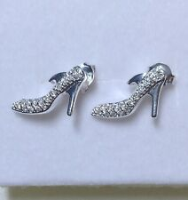 Sterling Silver And Cubic Zirconia -Stiletto Heels (shoes) Stud Earrings