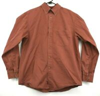 Roundtree & Yorke Men's 100% Cotton Red Button Down Long Sleeve Dress Shirt M