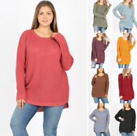 1X-3X Women's Cozy Waffle Knit Sweater Solid Color Long Sleeve Tunic Loose Top