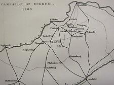 1872 WAR MAP/BATTLEPLAN ~ CAMPAIGN OF ECKMUHL 1809 ROTTENBURG MOOSBURG STEYER