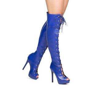 Abez by Scene (SHOEDAZZLE) Blue faux leather lace up open toe, OTK boots, SZ 6.5