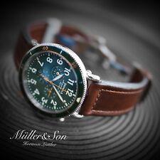 Müller&Son Genuine Horween Leather 24mm Brown Deployment Watch Strap for Shinola