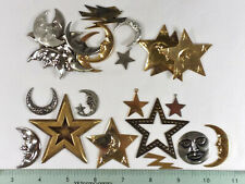 30 BRASS STAMPINGS, MOON/ STAR THEME, ASSORTED FOR JEWELRY & CRAFTING- MADE IN U