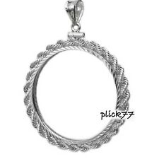 US 5 Cent Nickel Sterling Silver Diamond Cut Rope Coin Bezel Frame Mount Pendant
