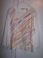 Bechamel Red White & Yellow Sequin & Beaded Scoop Neck 3/4 Sleeve Size XL