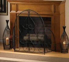Large Black Gothic Fire Screen Folding Wrought Iron Fire Spark Guard Domed Arch
