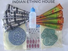Henna cones Tattoo kit 4 Black + 4 Brown +Applicator Stencil nail art Sticker US