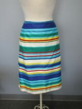 TALBOTS WOMAN Blue Yellow Green Striped Lined Cotton A Line Skirt Sz 16W CC8599
