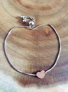 925 Sterling Silver Rose Gold Heart Adjustable Slider Bracelet