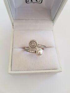 Sterling Silver 925 Pandora Luminous Glow White Pearl Ring Size 48