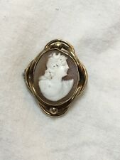 Antique Victorian shell cameo brooch Rolled Gold Or Pinchbeck Good No Cracks