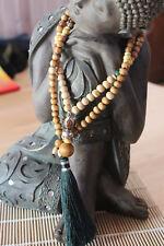 COLLIER MALA zen spirituel bois et perle malachite verte