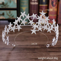 Star Bride Tiaras Crowns Wedding Crown Rhinestone Bridal Wedding Hair Jewelry
