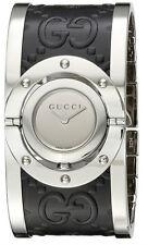 Gucci Twirl LG Mirror Dial Black Guccissima Leather Bangle Women Watch YA112441