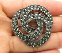 925 Sterling Silver - Vintage Marcasite Decorated Swirled Brooch Pin - BP4065