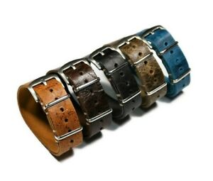 Leather watch strap 18-24mm, length 250-280mm Distressed soft wrist watch band