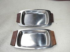 2 X  VINTAGE DENMARK STAINLESS STEEL DISHES TRAYS TEAK HANDLES HORS D'OEUVRES
