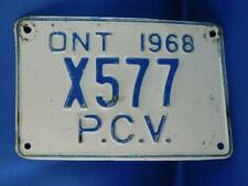 ONTARIO LICENSE PLATE 1968 PCV PUBLIC VEHICLE X 577 CANADA SHOP GARAGE SIGN