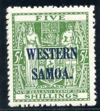 Samoa 1945 KGVI 5s green (wmk upright) MLH. SG 208. Sc 196.