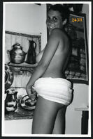 short haired semi nude girl smiling in towels Vintage fine art Photograph 1960'