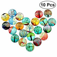 10pcs Mixed Round Glass GEMS Mosaic Tiles Multicolour for Jewelry Making