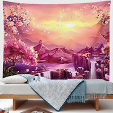 Nature Mountain Tapestry Abstract Waterfall Sunset Tablecloth Wall Hanging Deco