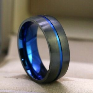 Couple Rings Titanium Steel Mens Ring Band Blue CZ Women's Wedding Ring Sets