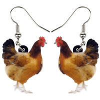 Acrylic Floral Chicken Hen Earrings Dangle Hooks Fashion Jewelry For Women Gifts
