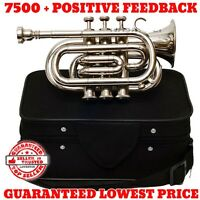 Bb Pitch Silver Colored Pocket Trumpet For Sale With Free Handmade Case+Mouth Pc