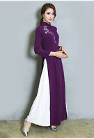 Women's Retro Formal Long Sleeve Cheongsam Party Cocktail Gown Maxi Dress 2019