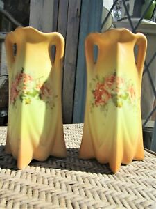 Pair of Antique Porcelain Victorian Bud Vases with Hand Painted Flowers