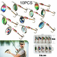 10x Spinners Fishing Lures Tackle Hook Set Crankbait Sea Perch Salmon Pike Trout