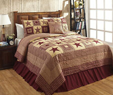 """3 Piece KING """"COLONIAL STAR-BURGUNDY"""" Quilted Bedding SET ~ Country, Primitive"""