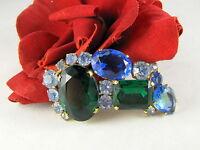 Vintage Dazzling Blue & Green Rhinestone Pin Brooch  CAT RESCUE