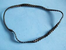BLACK PLAITED LEATHER LOOK ELASTICATED HEADBAND NARROW 0.75cms WIDE **GC**
