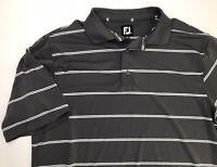 Footjoy FJ Mens Striped Polo Golf Shirt Size Large Charcoal Gray White Stripes