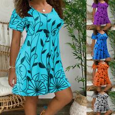 Women Summer Floral A Line Mini Dress Short Sleeve Casual Crew Neck Sundress