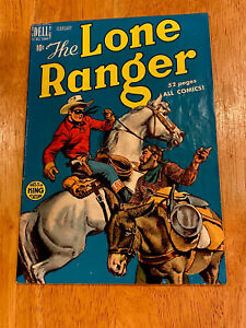 The LONE RANGER #20 (Feb 1950 Dell) Cool Blue Cover! Indian Photo Rear Cover! TV