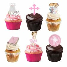 30 Stand Up Baby GIRL Christening Edible Wafer Paper Cupcake Cake Toppers